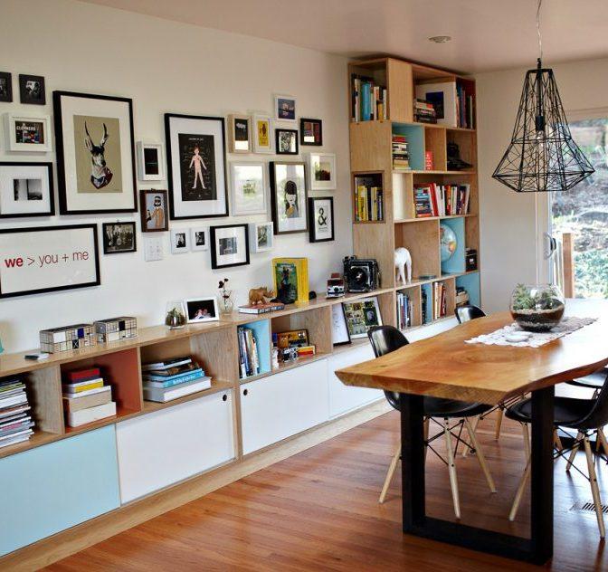 dining room with bookshelf