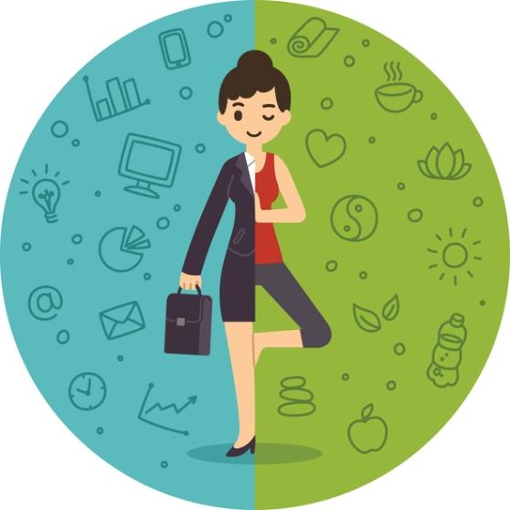 Illustration of woman balancing work and life