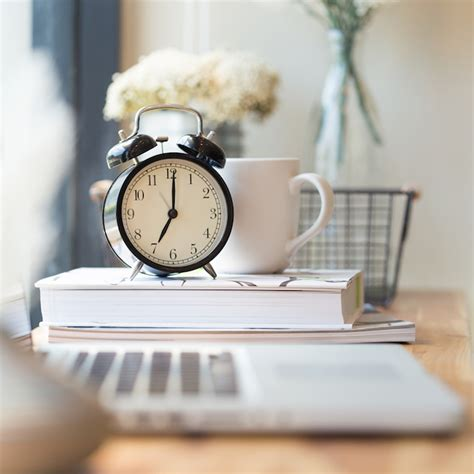 office organizing with clock