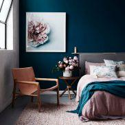 Navy blue mauve green interiors